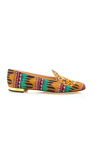 Medium charlotte olympia print pyramid embroidered canvas slippers