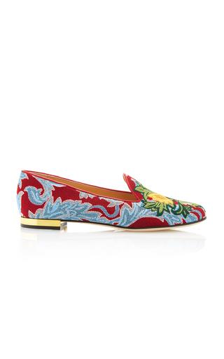 Medium charlotte olympia print mamma mia embroidered canvas slippers