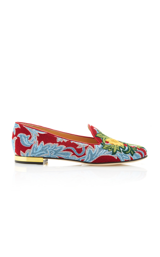 Medium charlotte olympia print mamma mia embroidered canvas slippers