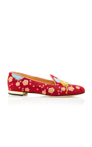 Medium charlotte olympia red cherry blossom embroidered canvas slippers