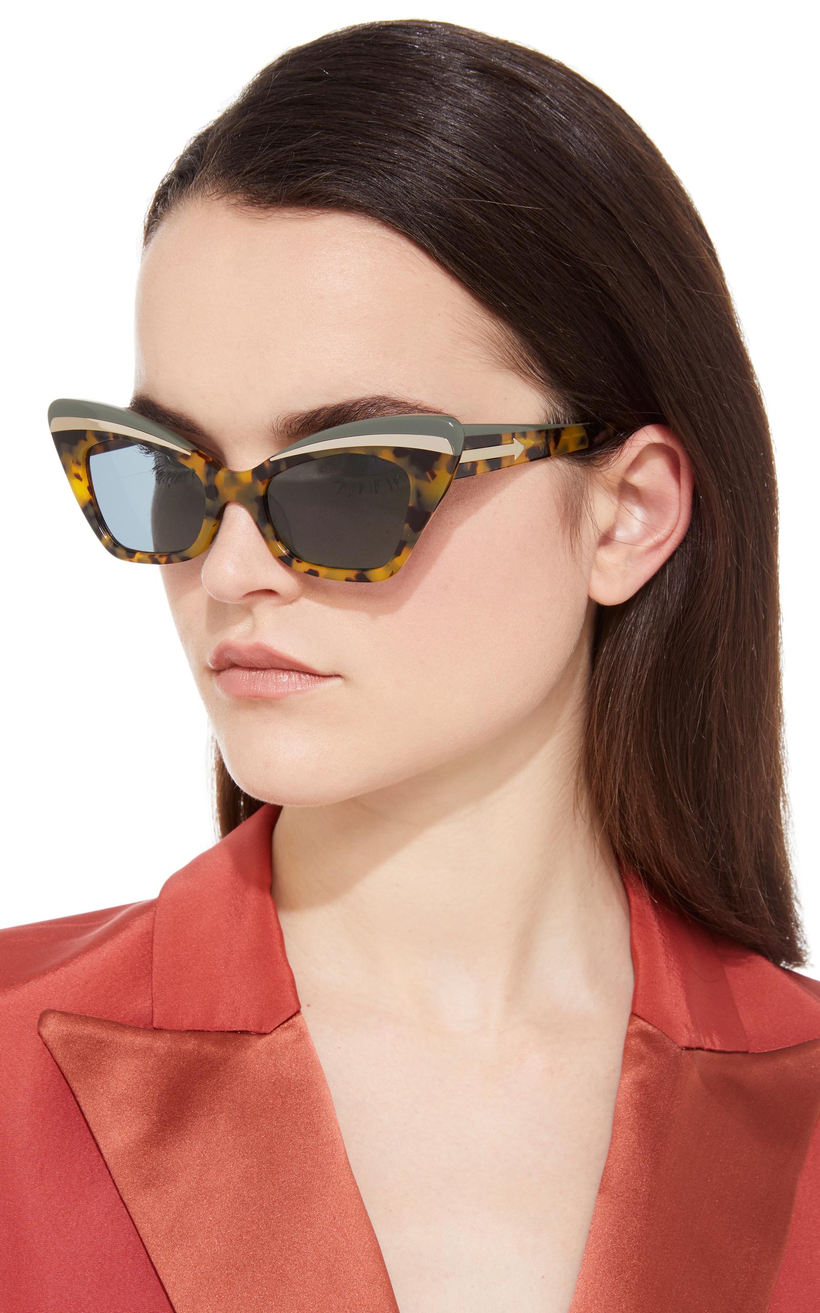 Babou Black Cat-Eye Acetate and Metal Sunglasses Karen Walker vjessoc