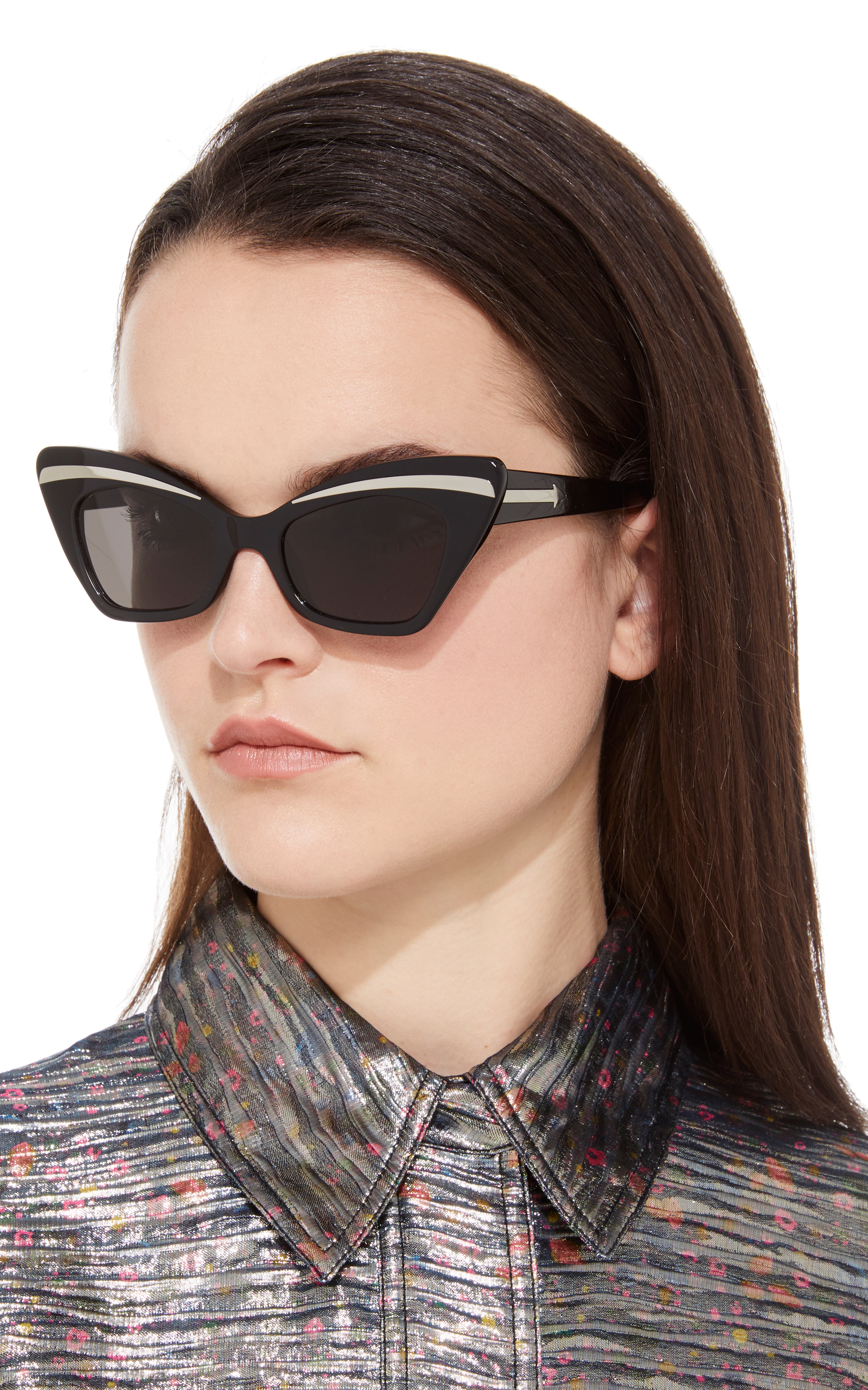 Babou Black Cat-Eye Acetate and Metal Sunglasses Karen Walker riC4l