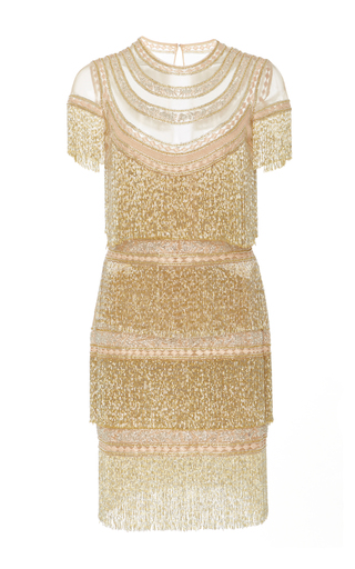 Medium naeem khan gold embellished tulle mini dress