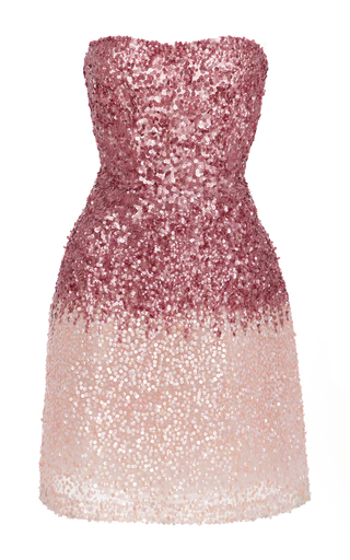 Medium monique lhuillier pink ombre sequined mini dress