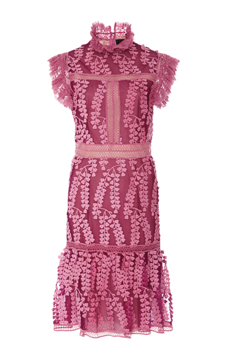 Medium costarellos pink sleeveless embroidered tulle dress
