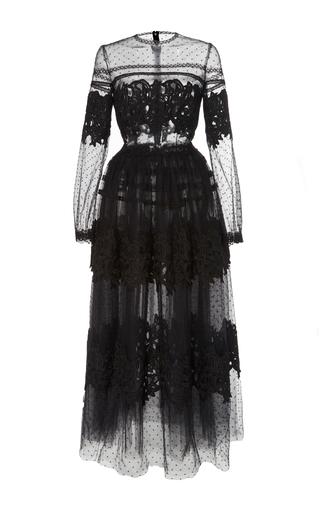 Medium costarellos black dot tulle long sleeve dress