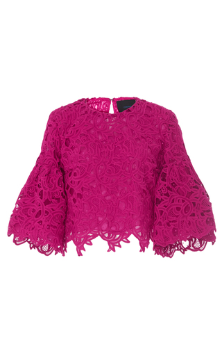 Medium costarellos pink guipure lace bell sleeve top