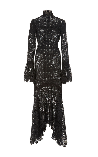 Medium costarellos black embroidered cut lace asymmetrical dress