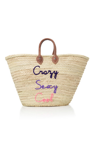 Medium we are poolside multi shorty embroidered straw tote 2