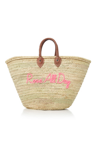 Medium we are poolside pink shorty embroidered straw tote 3