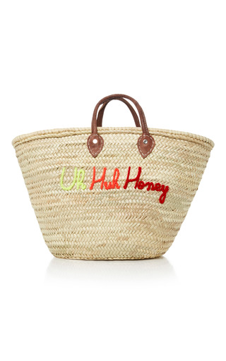 Medium we are poolside multi shorty embroidered straw tote 4