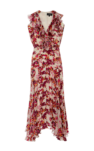 Medium saloni print rita ruffled printed silk dress