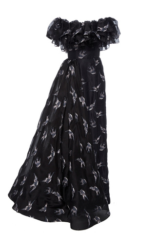 Medium christian siriano black blue jay embroidered multi tiered gown