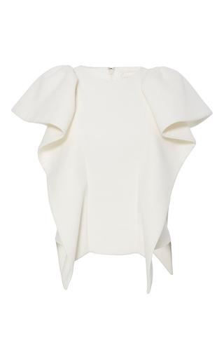 Medium christian siriano white cotton crepe flounce sleeve blouse