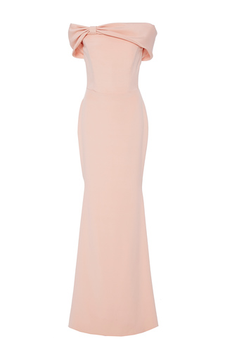Medium christian siriano pink crepe off the shoulder bow gown