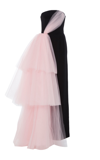 Medium christian siriano black strapless side draped tulle gown