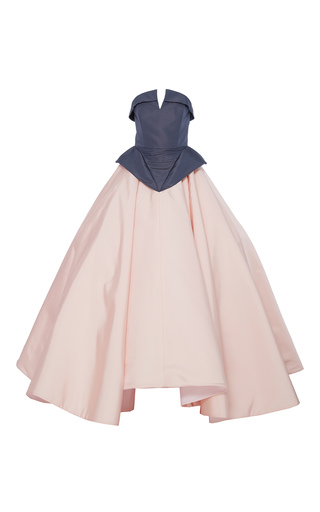 Medium christian siriano pink silk faille strapless two tone gown