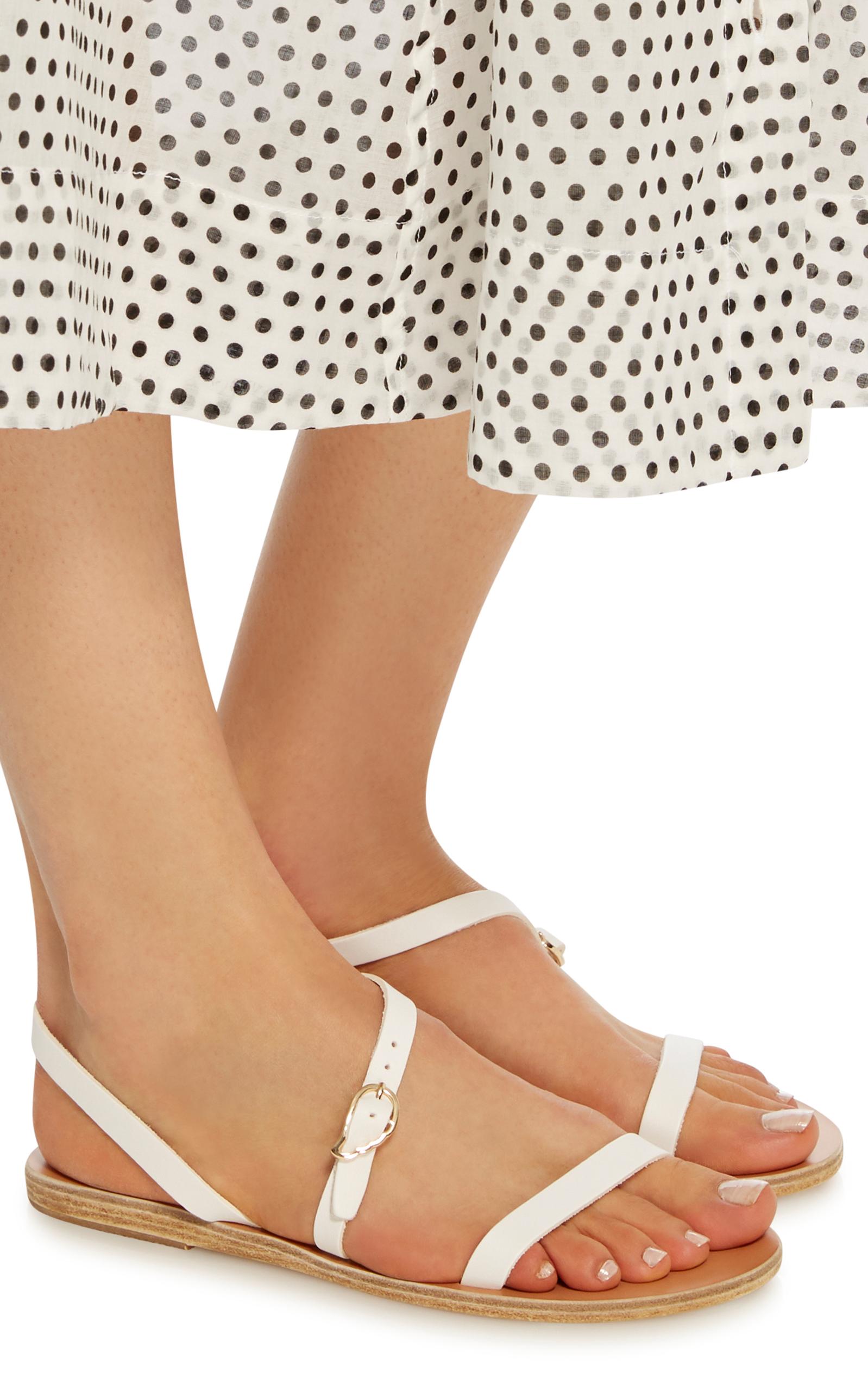 Sandales En Cuir Niové - Blanc Antique Sandales Grecques WBaPC