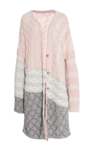 Medium prabal gurung pink curved sleeve cable cardigan