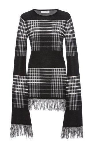 Medium prabal gurung black white long sleeve plaid knit