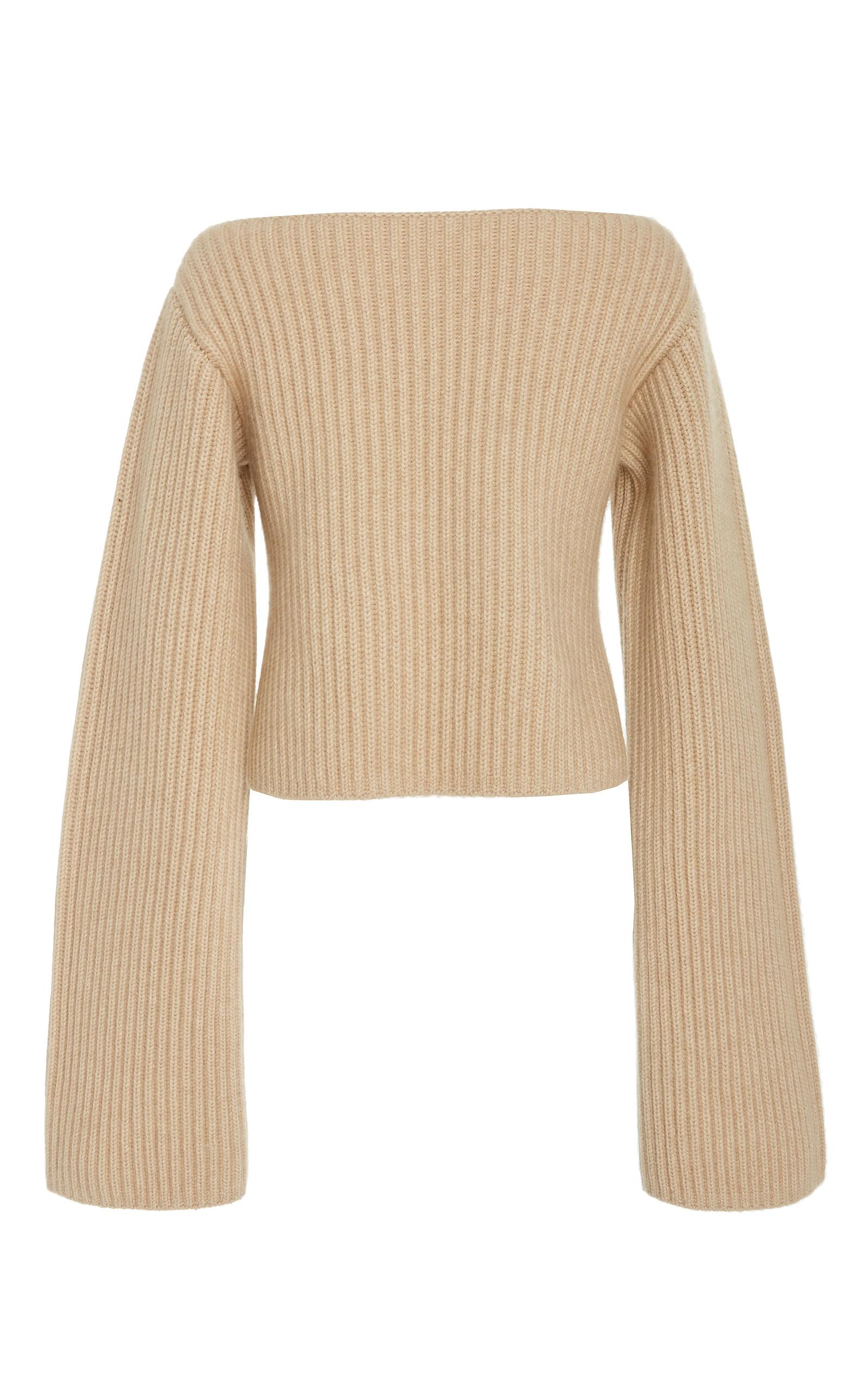 KHAITE Ribbed-Knit Cashmere Sweater, Neutrals ModeSens