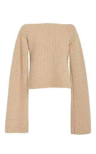 Medium khaite neutral ribbed knit cashmere sweater