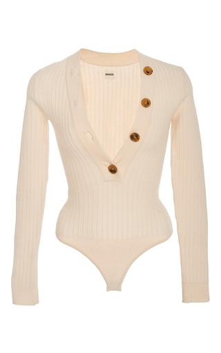 Medium khaite white ribbed knit wool sweater