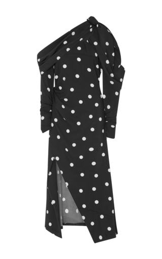 Medium monse print off the shoulder polka dot stretch silk midi dress