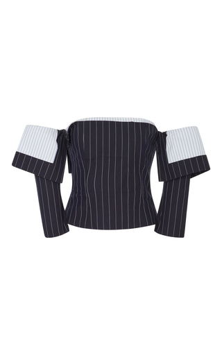 Medium monse blue of the shoulder pinstriped corset top