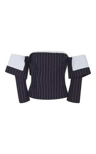 Medium monse blue of the shoulder pinstriped corset top