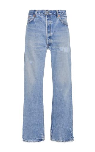 Medium re done blue high rise straight leg jeans