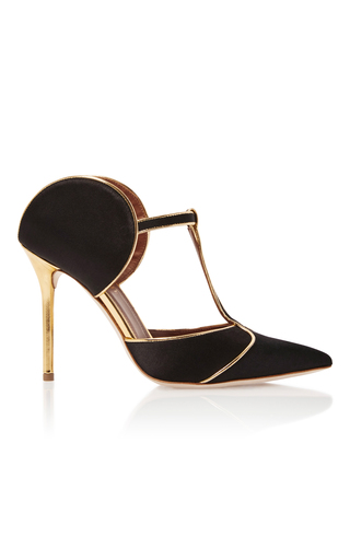 Medium malone souliers black leather trimmed satin sandals