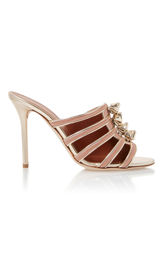 Medium malone souliers pink opal leather trimmed satin sandals