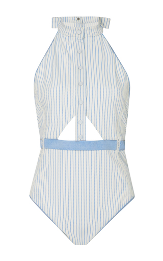Medium jonathan simkhai stripe striped cutout bodysuit