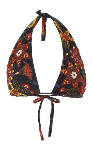 Medium lenny niemeyer black embroidered triangle bikini top