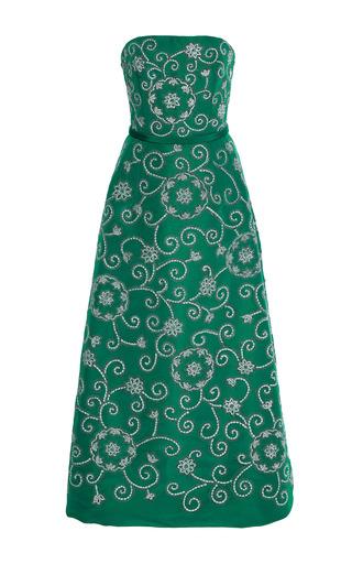 Medium oscar de la renta green strapless embellished cocktail dress 2