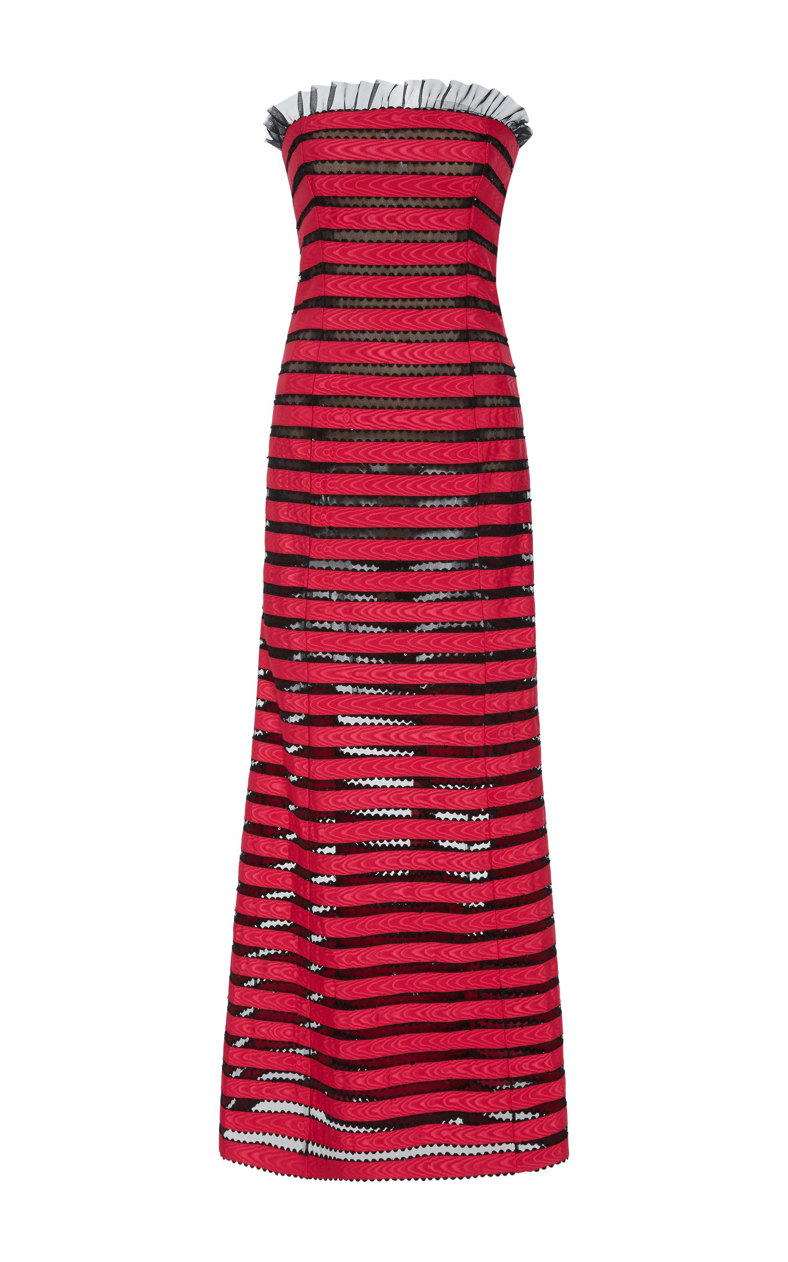 Strapless Ribbon Striped Gown by Oscar de la Renta | Moda Operandi