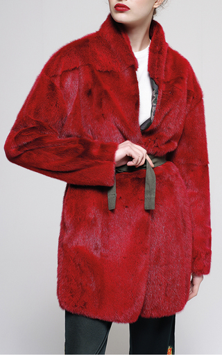 Medium mr mrs italy red mink fur wrap jacket