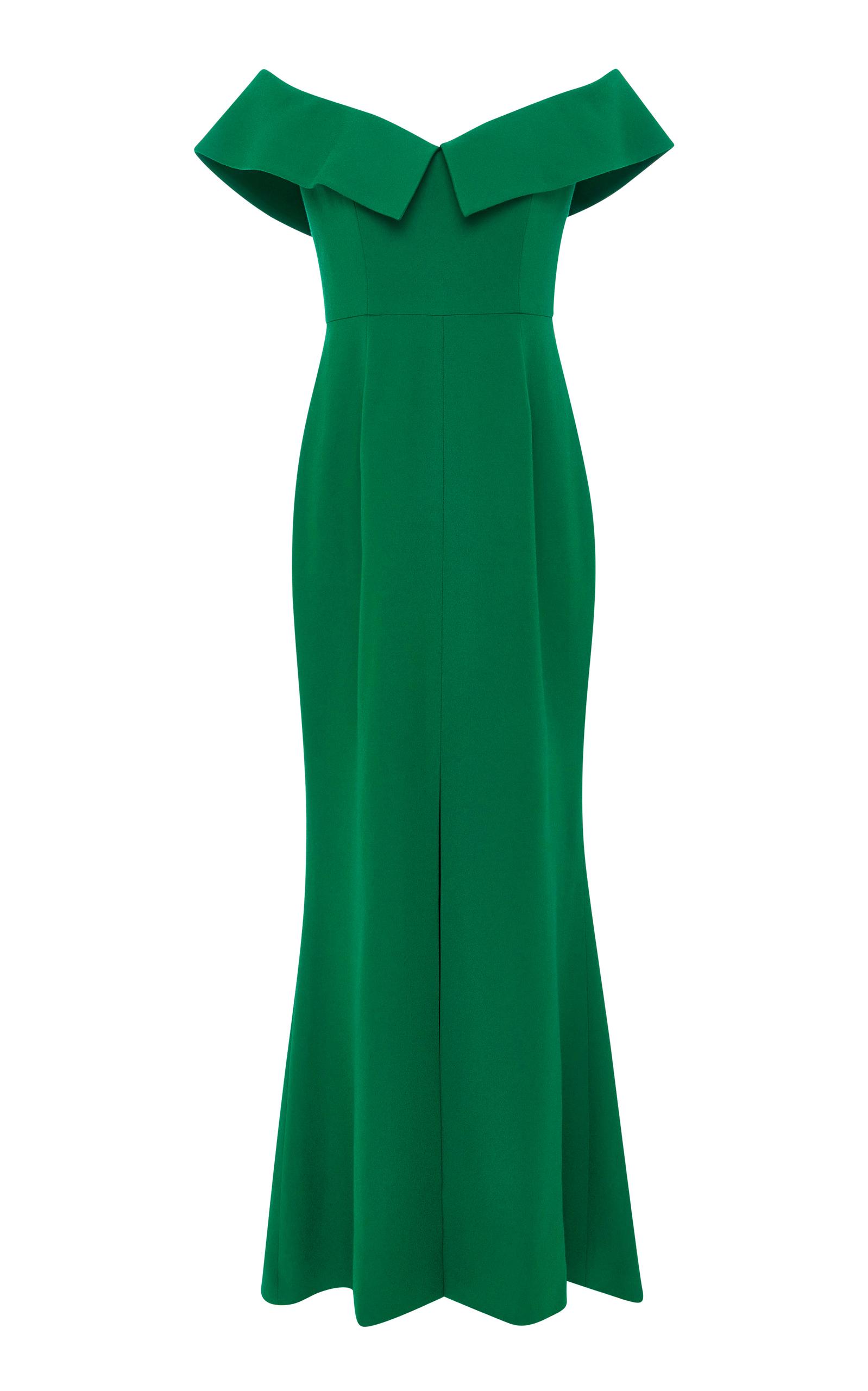 Off-The-Shoulder Emerald Crepe De Chine Column Dress Elizabeth Kennedy BPYOOzT7