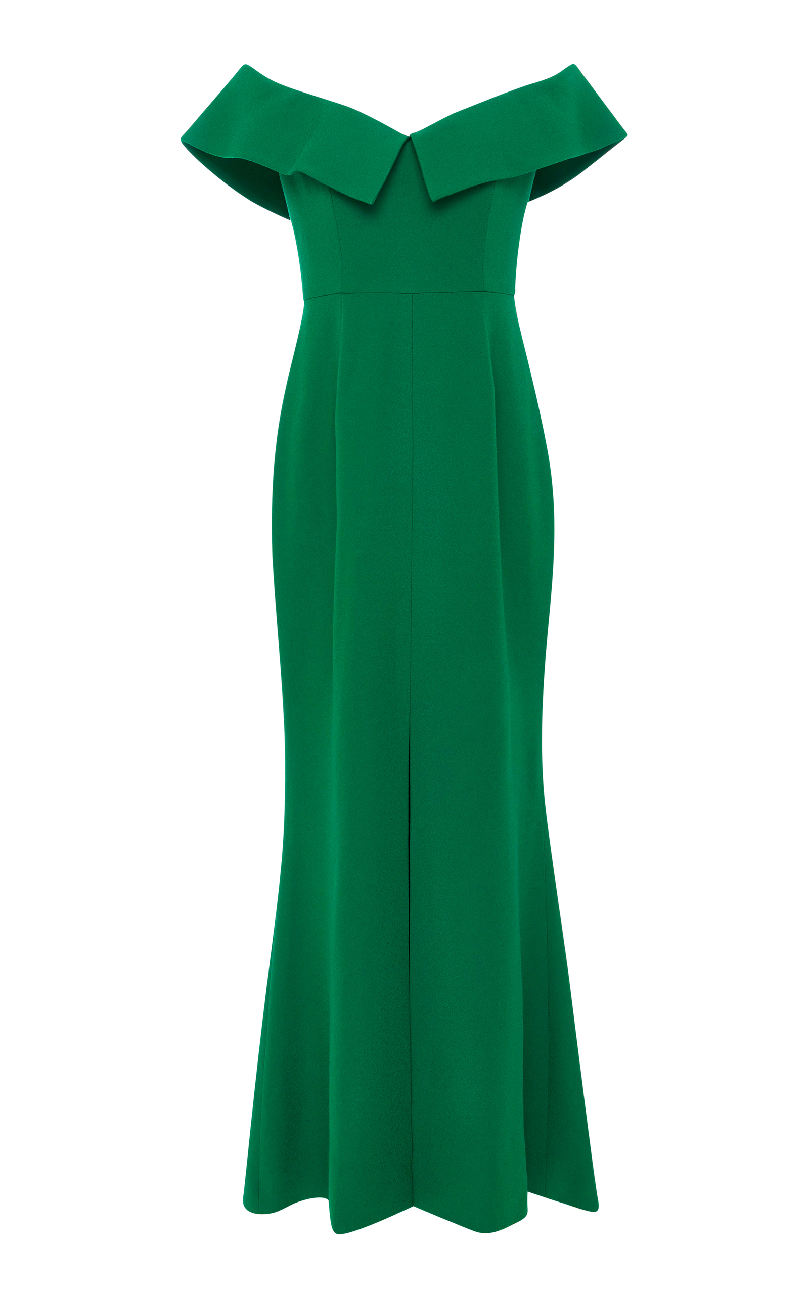 ELIZABETH KENNEDY OFF-THE-SHOULDER EMERALD CREPE DE CHINE COLUMN DRESS