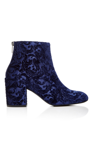 Medium stuart weitzman  2 blue bacari embossed velvet ankle boots