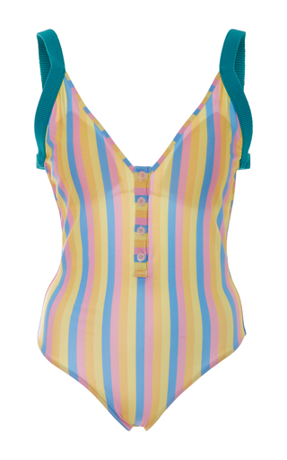 Medium rye stripe bizz striped swimsuit