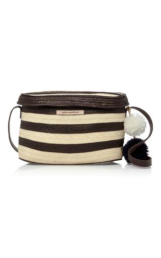 Medium sophie anderson black white ana woven raffia shoulder bag