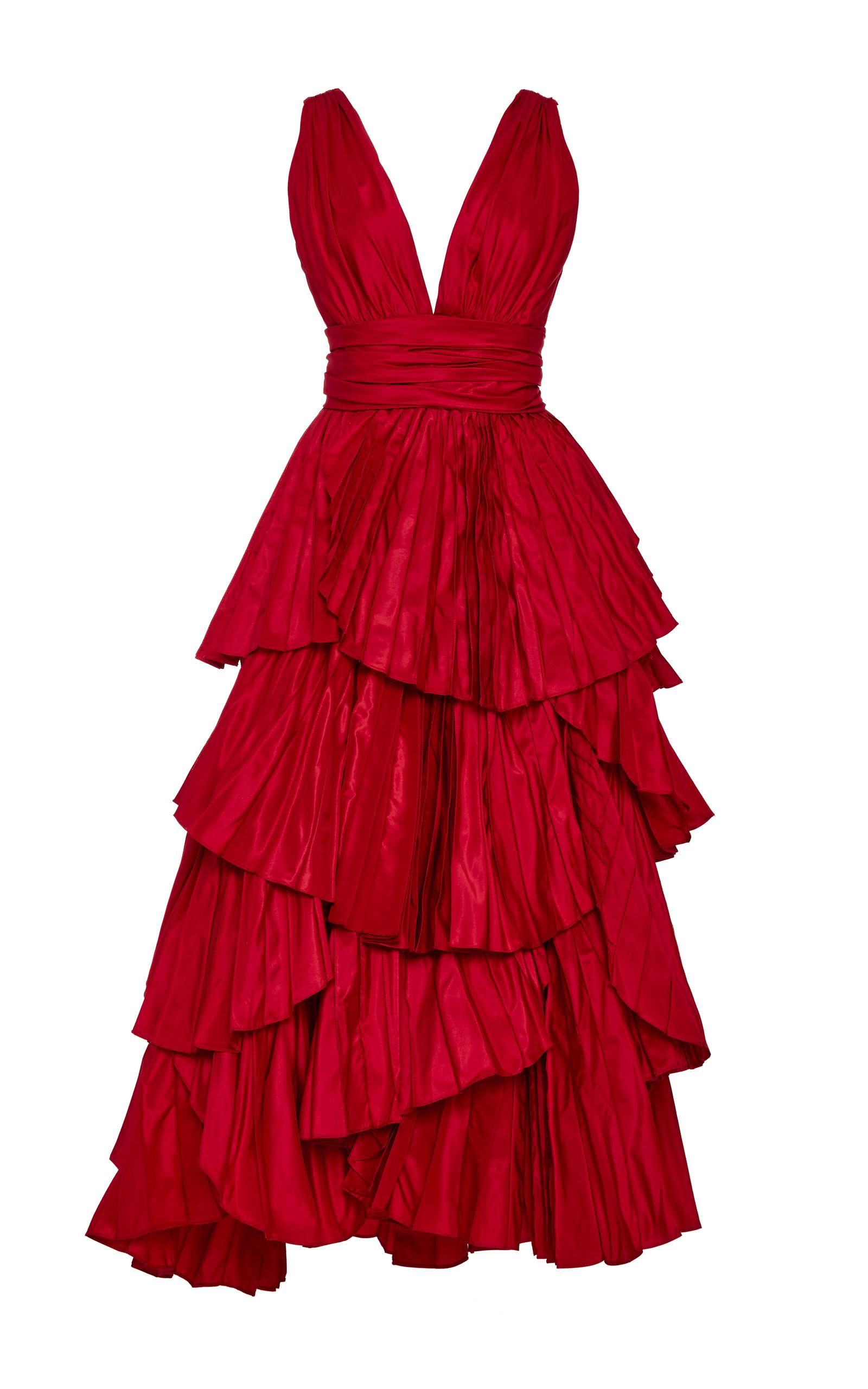 7174fd76cf010 Tiered Pleated Silk Gown by Oscar de la Renta