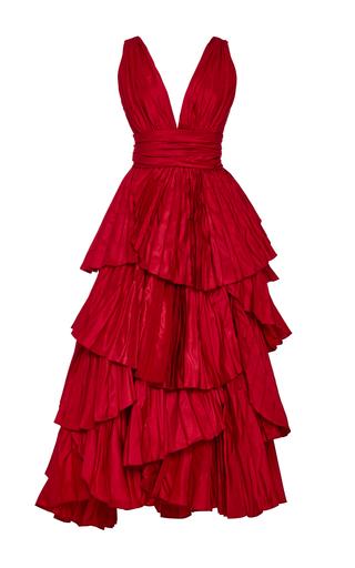 Medium oscar de la renta red tiered pleated silk gown