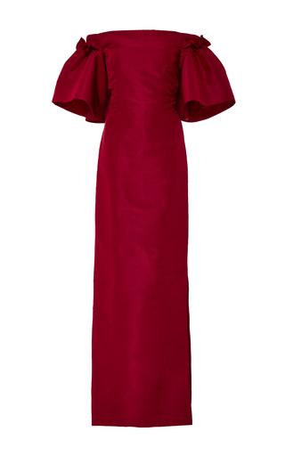 Medium oscar de la renta red off the shoulder silk gown