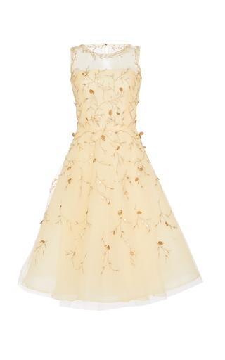 Medium oscar de la renta gold floral appliqued tulle dress