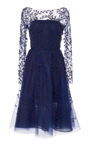 Medium oscar de la renta navy embellished tulle dress