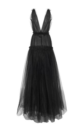 Medium oscar de la renta black ruffled tulle gown