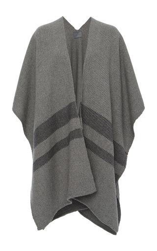 Medium maiyet grey stripe hem cashmere poncho